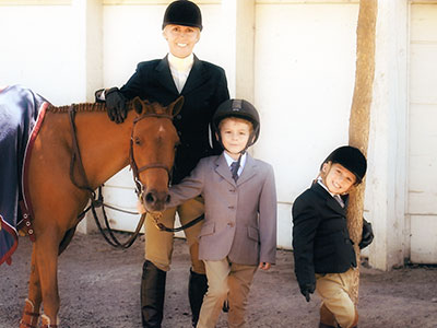 Katrina, Emerson, and Alistair with Horse